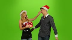 holiday couple, gift box present. green screen. new Year. Slow motion - stock footage