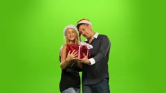 christmas couple, gift box present. green screen. new Year. Slow motion - stock footage