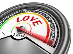 Love level conceptual meter indicate maximum Stock Illustration