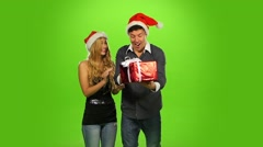 Beautiful happy christmas holiday couple, love and smiling, green screen, Slow Arkistovideo