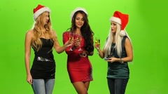 Glamour. elegance woman Celebrating New Year, green screen, Slow motion - stock footage