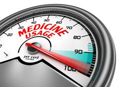 Stock Illustration of Medicine usage to hundred per cent conceptual meter