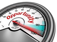 Opportunity conceptual meter indicate hundred per cent Stock Illustration