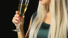 Woman with glass of champagne wearing venetian masquerade mask, Slow motion Stock Footage