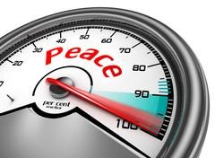 Peace level conceptual meter indicate hundred per cent Stock Illustration