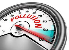 Pollution conceptual meter indicate hundred per cent Stock Illustration