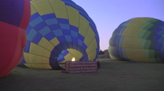 Hot Air Balloon Inflation with flames - stock footage
