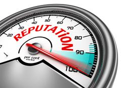 Reputation conceptual meter indicate hundred per cent Stock Illustration