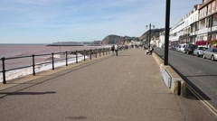 Sidmouth promenade Devon traditional English seaside Stock Footage