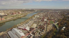 Aerial shot of Pittsburgh, PA Looking Back to the Southside Stock Footage