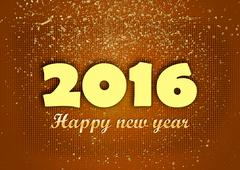 Happy new year 2016  golden glitters red Stock Illustration