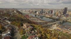 Aerial of Pittsburgh, PA Riding Mt. Washington Ridge Stock Footage