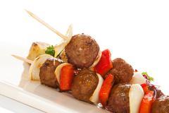 Delicious meatballs skewer. - stock photo