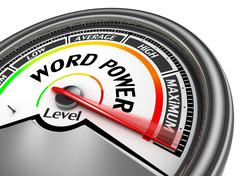 Word power level conceptual meter indicate maximum - stock illustration