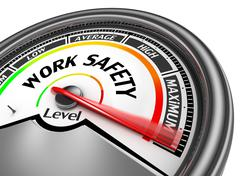 Work safety level conceptual meter indicate maximum Stock Illustration