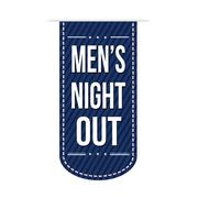 Men's night out banner design - stock illustration