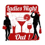 Ladies night stamp - stock illustration