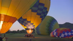Hot Air Balloons Inflating, zooming in Stock Footage
