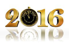Happy new year 2016 gold clock business card Stock Illustration