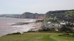 View of Sidmouth coast town Devon England UK Stock Footage