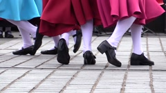 Dancers feet and legs. Public folk french dancing and cabaret Stock Footage