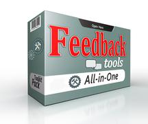 Feedback tools pack all in one concept on white background Stock Illustration