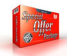 Special offer package concept red advertisement Stock Illustration