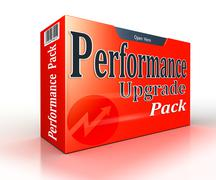 performance upgrade concept red pack - stock illustration