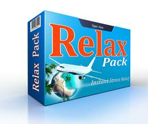Relax concept pack with flight to paradise - stock illustration
