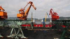 Port moorings for processing coal at the port of Nakhodka. Primorsky Kray,Russia Stock Footage