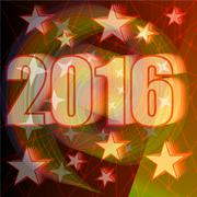New Year 2016 party billboard concept with bold numbers and star shapes on re Piirros