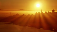Aerial view Golden Gate city sunrise San Francisco California Coastline Stock Footage