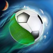 Soccer ball globe with grass travel in space Stock Illustration