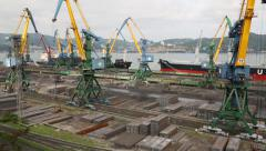 Moorings for processing metal at the port of Nakhodka. Primorsky Kray, Russia Stock Footage