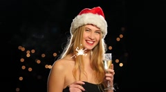 Blonde with traditional new year bengal light. Slow motion. Close up Stock Footage