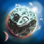 Ear planet with sun and moon in space Stock Illustration