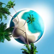 Stock Illustration of dream planet with coconut trees and sandy beach