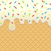 Flowing  Ice Cream on waffle Stock Illustration