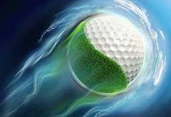 Golf ball planet with grass travel in space Stock Illustration