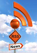 rss road orange sign - stock illustration