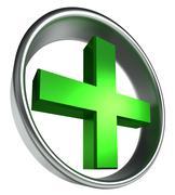 Green health cross in round metal frame Stock Illustration