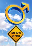male symbol road sign with mens area text - stock illustration