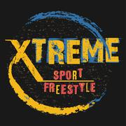 Extreme sport freestyle Typography label - stock illustration