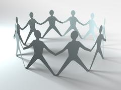 people team in a circle - stock illustration