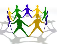 team of people in circle with brazil colours - stock illustration