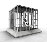 locked prison cage with heavy metal bars - stock illustration