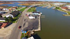 Scenic Aerial Tour Kewaunee, Wisconsin Harbor on Lake Michigan Stock Footage