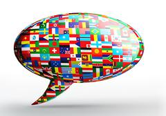 talk bubble language concept with nation flags - stock illustration