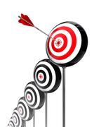 Aim higher targets row Stock Illustration