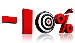 ten per cent red discount symbol - stock illustration